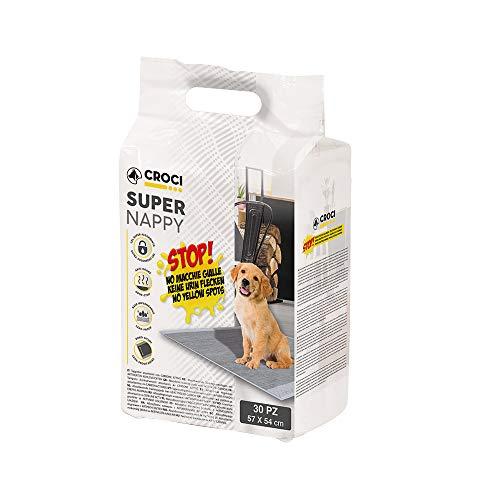 CROCI SUPER NAPPY, Tappetino Ultra Assorbente con Carbone Attivo, Anti Odore, Anti Macchia, Set di 30 unità, Formato 57x54