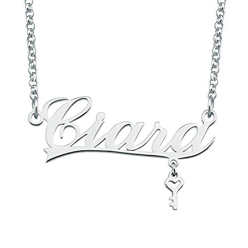 Lifequeen Ciara 925 Sterling Silver Key to My Heart Personal Name Necklace Semi-Custom Made Customized Personalized Gift for Girls Boys Women Men
