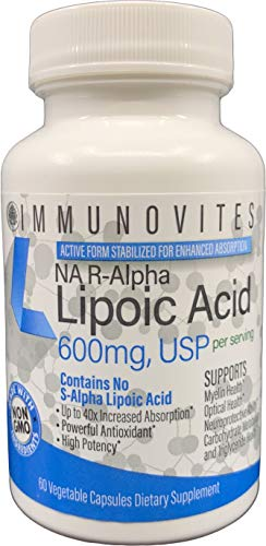Stabilized R-Alpha Lipoic Acid ((True)) 600mg per Serving [[High Potency & up to 40x Increased Absorption]] (Na R-ALA) (Na R-LA) (Na R-Lipoate) (1 Bottle)