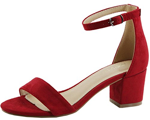 Bella Marie Women's Strappy Open Toe Block Heel Sandal, Red Imsu, 6.5