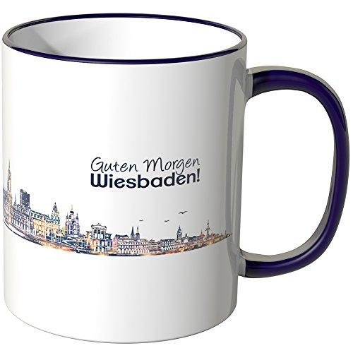 WANDKINGS® Tasse, Schriftzug Guten Morgen Wiesbaden! mit Skyline bei Nacht - LILA