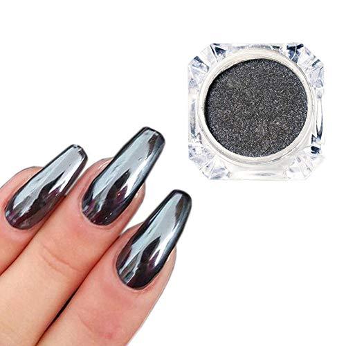 Nagelspiegelpuder, Silber glitzernd, Chrom-Pigment Nailart Pailletten Mode DIY Puder Spiegeleffekt Nagel Glitzer Pigment für UV Gel Nail Art DIY Design