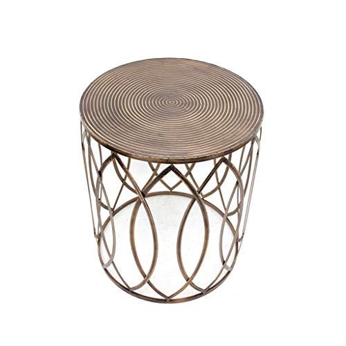 TangMengYun Armoires de côté rétro en fer forgé à la mode américaine minimaliste, table d'appoint pour canapé, table basse ronde