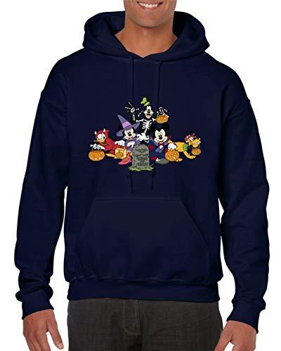 Mickey & Minnie Mouse Hoodie Friends Happy Halloween Lustiges Horror Geschenk Unisex Top Gr. 140/146, navy