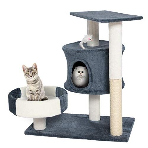 Akarden 27.55 inches Cat Tree Cat Tower Cat Condo Furniture Scratch Post for Kittens Pet House Play
