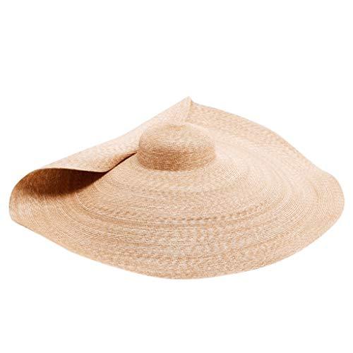TUDUZ Strohhut (Sonnenschutz) Damen und Herren Übergroßer Strandhut Anti-UV Caps, Hut aus Stroh für den Sommer am Strand oder im Urlaub, Faltbar Strohhut, Farbe Natur(Khaki1)