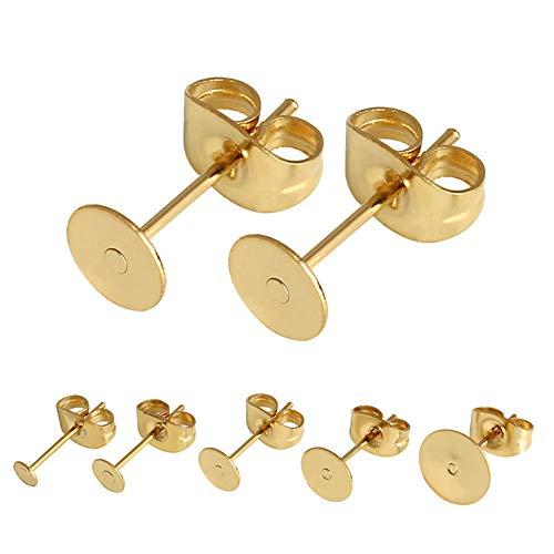 100 pares (200 piezas) para arete con almohadillas planas, pendientes con mariposa, para hacer resultados, reparación de pendientes, oro de 6 mm