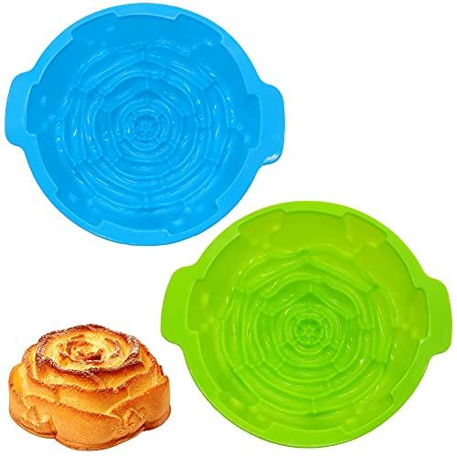 Molde Silicona para Tartas, BKJJ 2 piezas Molde Espiral Rosas, Molde Espiral Antiadherente, Grande Flores Rosa Forma Molde para Chocolate, Muffins, Pastel, Tarta - verde y azul