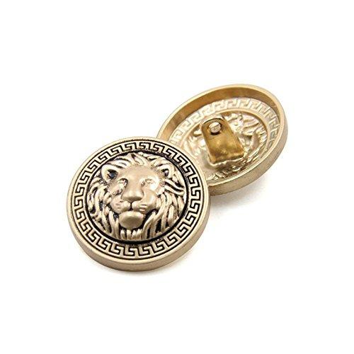 10PCS Bottoni Vestiti - Moda Lion Head Bottone da Cucire Bottone in Metallo a Forma di Pulsante Set per Uomo Donna Blazer, Cappotto, Uniforme, Camicia, Completo e Giacca (Oro, 20mm)