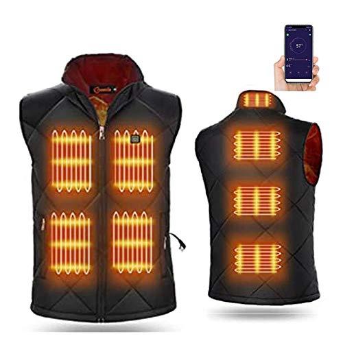 CRXL shop-Heizdecke Beheizte Weste USB Lade Für Herren Damen, Elektrische Beheizte Jacke Beheizbare Weste Jacke, Mit 5 Temperatur APP Bluetooth-Steuerung Für Outdoor Wandern Motorrad Kalte (Size : M)