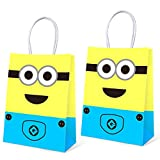 16 PCS Minions Party Bags Birthday Party Supplies Birthday Favor Gift Bags for Kids, Minions Party Bags Themed Party Supplies Favors Birthday Party Decorations, 5.9 * 3.2 * 8.3 inch
