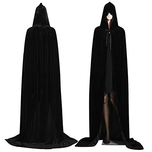 Mantello con Cappuccio Lungo in Velluto, Unisex Costume di Halloween Carnevale Natale Capo Masquerade (Nero, S)
