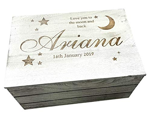 Personalised Engraved Baby Keepsake Box Wooden Memory Box Heart Star Love You to The Moon 20 x 30cm