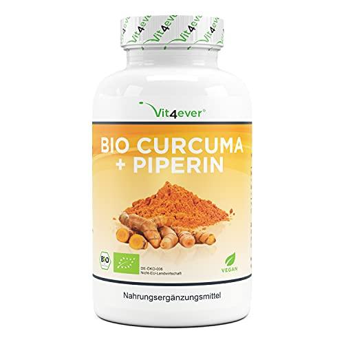 Cúrcuma orgánica - 365 cápsulas veganas - 4560 mg (cúrcuma orgánica + pimienta negra) por porción diaria - Con curcumina y piperina - Altamente dosificado - Vegano