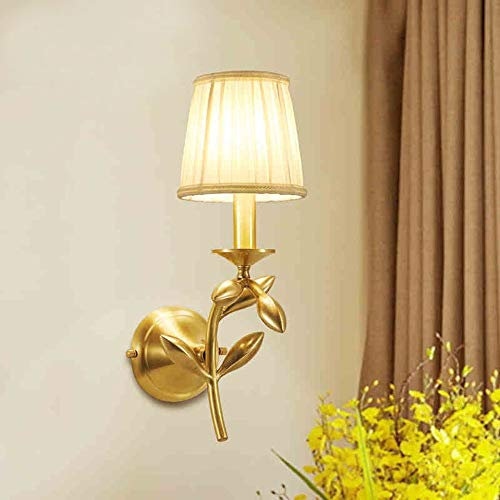 no-branded Bedside Lamp Simple Fabric Gold Branch Jade Leaf American Style Copper Art Wall Lamp ZHQHYQHHX
