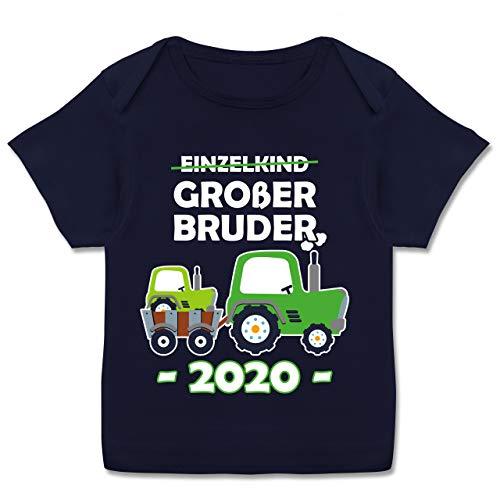 Geschwisterliebe Baby - Einzelkind Großer Bruder 2020 Traktor weiß - 80-86 - Navy Blau - Spruch - E110B - Kurzarm Baby-Shirt für Jungen und Mädchen
