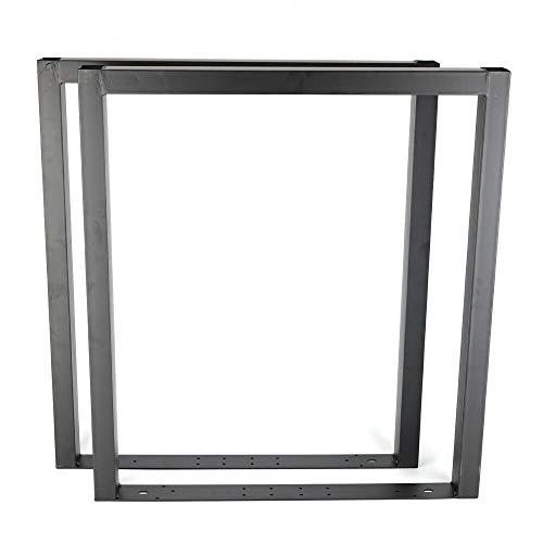 Juego de 2 patas de mesa industriales para comedor o mesa de bricolaje, color negro, 80 x 72 cm (ancho x alto x alto) para muebles de oficina