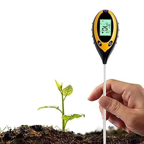 Runmeihe Probador de Suelo 4 en 1 medidor de Humedad del Suelo probador de Valor de pH con sonda de Metal Interior y Exterior hogar, jardín, Granja