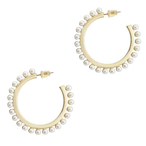 Pearl Hoop Earrings for Women Fashion Dangle Hypoallergenic Layer Earrings Drop Dangle Earrings Gifts for Women silver