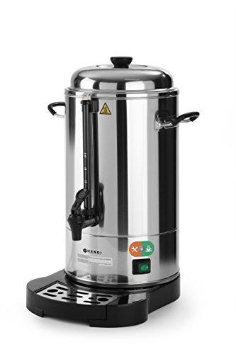 HENDI Kaffee-Perkolator, Doppelwandig, Energiesparend, eingebauter Filterwanne, non drip Hahn, für grob gemahlen Kaffee, kein Papierfilter notwendig, 6L, 230V, 1500W, ø241x(H)480mm, Edelstahl 18/0