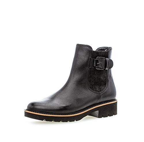 Gabor Damen Stiefeletten, Frauen Biker Boots,Comfort-Mehrweite,Reißverschluss,Optifit- Wechselfußbett, halbstiefel,schwarz (Micro),42 EU / 8 UK