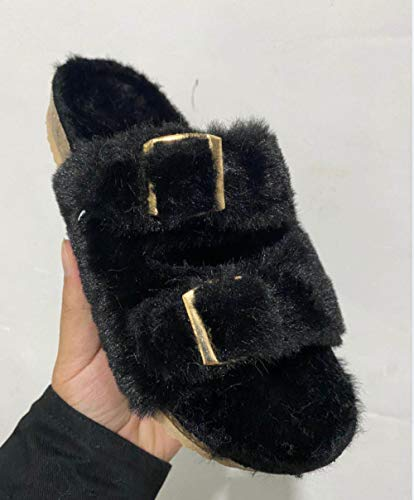 YANSHOU Zapatillas de algodón para Mujer en el hogar, Zapatillas Abiertas para Uso Interior-Negro_43