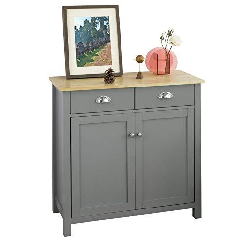 SoBuy FSB25-HG Mueble Entrada Recibidor Aparador Cocina con 2 Cajones y 2 Puertas 80 x 36 x 81 cm ES (Gris)