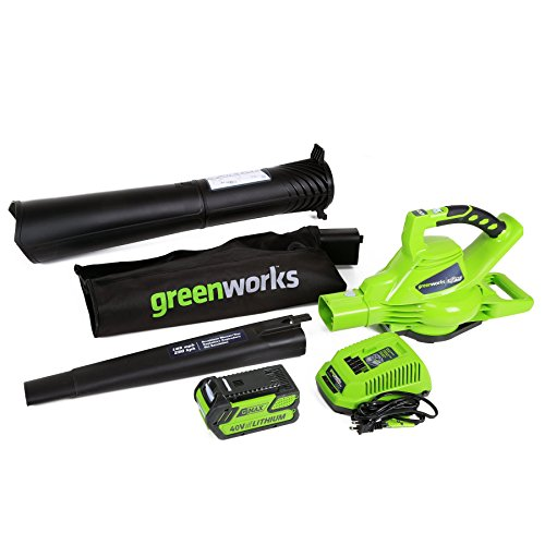 Greenworks 40V 185 MPH Variable Speed Cordless Blower Vacuum, 4.0 AH Battery Included 24322 (Renewed)