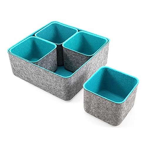 SHENG Bidoni di stoccaggio Set Office Drawer Organizzatori Adatti for la Scuola Home Cucina Armadio Armadio Scrivania Organizzare Le scatole Idea di Regali, 5 pz. (Color : Gray Blue)