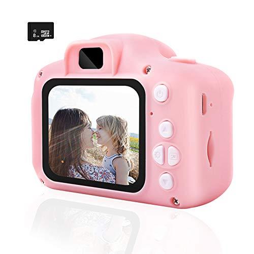 Cámara de fotos rosa digital para niños con tarjeta TF 8G, LCD 1080P, para videocámara, juguete de silicona, antigolpes, cámara selfie, resistente, compacta y recargable profesional para niña