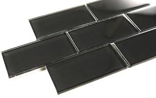 3x6 Black Glass Mosaic Tile - Bathroom Tile & Kitchen Backsplash Tile (price per square feet, 8 pieces)
