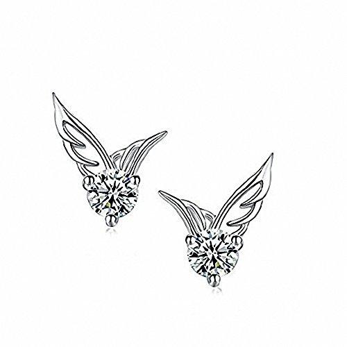 Upspirit Ohrstecker, 925 Sterling Silber mit Kristallen, Engelsflügel-Design