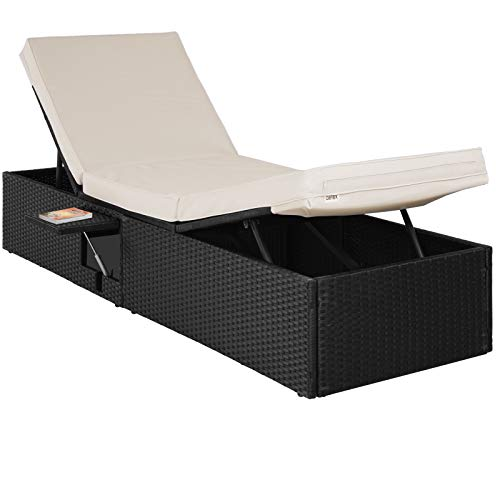Deuba Polyrattan Sonnenliege XL Outdoor Verstellbar mit 7cm Auflage Rattan Gartenliege Klapptisch Schwarz Creme 195x65cm