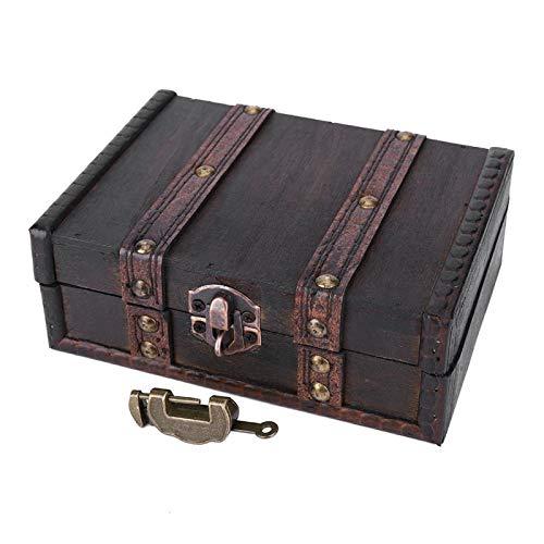 Caja de almacenamiento madera, escritorio a prueba polvo, colección antigua, organizador joyería vintage, exhibición, adornos de escritorio, contenedor, tesoro, pulsera, pendientes collar (gris)