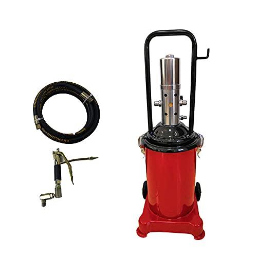 Kangl Nueva máquina de Mantequilla de Alta presión neumática de 12L, inyector de Aceite, Pistola de engrase de ingeniería móvil de Alta Resistencia, con Manguera Flexible de 4 m