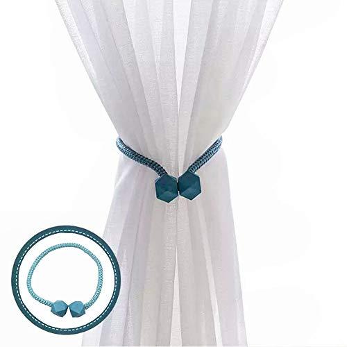 Kiwochy 4 piezas de cortina magnética de encaje con clip de cuerda decorativa para el hogar, oficina, decoración de ventanas de 19 cm, color azul