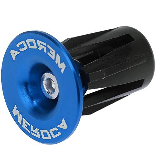 CLISPEED 1 Paio Tappi Terminali Manubrio Bici da Corsa in Lega di Alluminio per Bici da Corsa 22-24Mm Mountain Bike MTB (Blu)