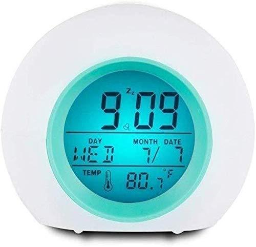 LIANYANG Ball Bunter Wecker Digital Mit 7 Farben LED Nachtlicht 6 Naturgeräusche,Zeit/Datum/Woche/Schlummer/Temperaturanzeige