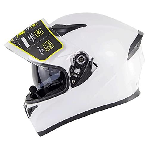 LHP Casco de Motocicleta Bluetooth Casco Integral Universal Cascos Moto integrales Dot/ECE Homologado para Mujer Hombre Adultos con Doble Visera (Color : White A, Size : Medium 55-56cm)