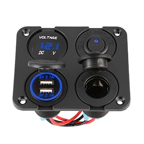 LSXLSD Accesorios de interruptores Nuevos puertos USB dual Cargador de automóvil + Voltímetro LED + Toma de alimentación de 12-24V + Interruptor de encendido On-Off 4 en 1 Coche Marino LED de interrup