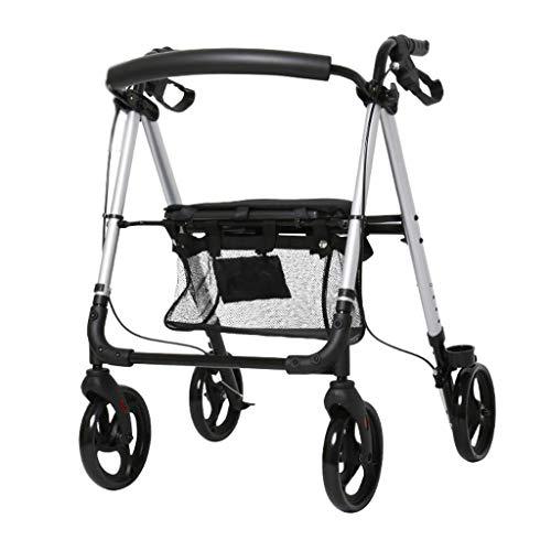 Drive Walker Medical Aluminium Rollator Klapp- und Rückenstütze, Räder, gepolsterter Sitz mit Einkaufskorb, Blau