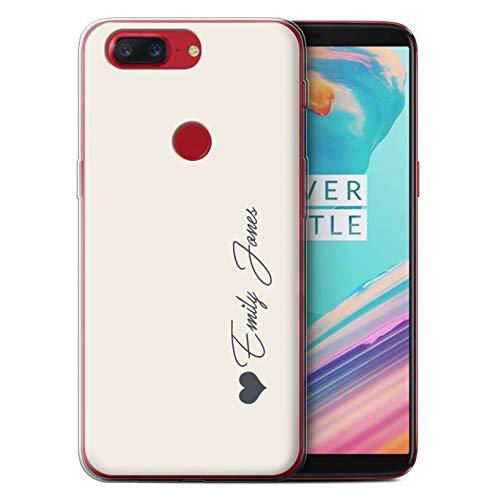 Stuff4® Personalisiert Persönlich Pastell Töne Gel/TPU Hülle für OnePlus 5T / Elfenbein Herz Design/Initiale/Name/Text Schutzhülle/Hülle/Etui