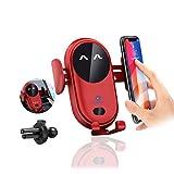 Soporte Movil Coche [2 en 1],Soporte Móvil Teléfono para Salida de Ventilación del Coche con Rotación de 360 Grados Compatible para iPhone 12 Pro XR XS 11 8 7 Plus(Rojo)