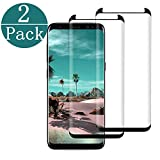 [2Pack] Compatible Galaxy S8 Plus Screen Protector Tempered Glass,[Anti-Fingerprint][No-Bubble] Glass Screen Protector Compatible Samsung Galaxy S8 Plus[Black]