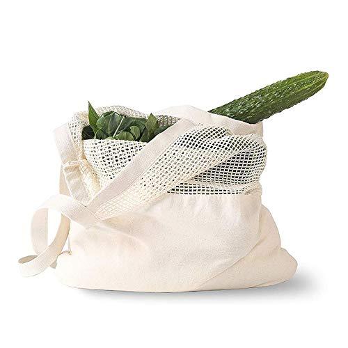JINSUO NWXZU Eco Bolsa de algodón Bolso de ultramarinos de Eco Friendly Reutilizables Grande producir algodón Bolsas for Frutas Vegetales Mitad de Malla Lavable Bolsa de Hombro de Las Mujeres