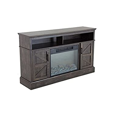 Oliver and Smith - Indoor Dark Brown Antique Farm Door Fireplace - Fireplace with Fireplace insert - 60  W x 15  D x 36  H Entertainment System - Aspen 1