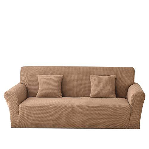 CC.Stars Decorativas Fundas para Sofas,1/2/3/4 plazas Funda de sofá Universal elástica de Punto Fundas elásticas Gruesas para Sala de Estar Funda de sofá Funda de sillón-Camel_Four Seat 235-300CM_