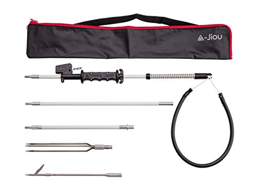 A-jiou Fishing Pole Spear Trigger Glass Fiber 5.5' Travel 3 Pieces Hawaiian Sling with 2 Tips and Bag
