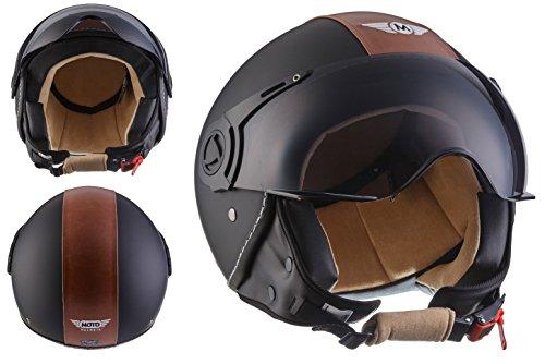 MOTO H44 Vintage Black · Motard Mofa Retro Scooter Biker Vespa Urbano Bobber Moto Piloto Chopper Casco Demi-Jet Cruiser Urban Vintage · ECE certificato · compresi parasole · compresi Sacchetto portacasco · Nero · M (57-58cm)
