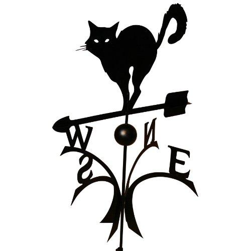 Wetterfahne 57x62,5cm Motiv Katze schwarz Stahl Windspiel Kugelgelagert